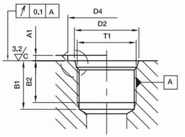чертежи ответная частьO-Ring Boss гнездо ORB в корпусе ISO6149-1 ISO11926-1