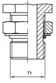 чертеж регулируемое герметичное ORB male соединение O-Ring Boss с контргайкой ISO6149-2/3 ISO1179 ISO11926-2/3