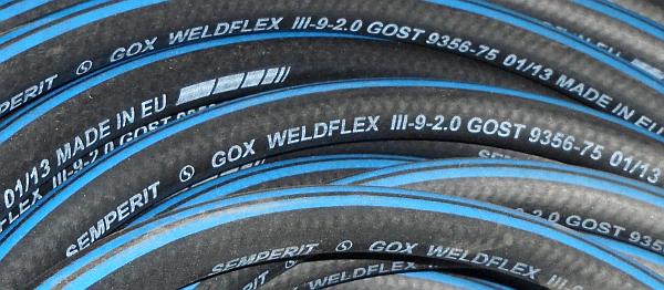 Рукав для сварки кислородный шланг 20атм ГОСТ 9356-75 ISO 3821:2008 Semperit GOX EN559PN2MPa WELDFLEX