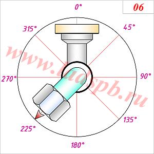 Схема исполнения угловых фитингов на гидрошлангах - взаимный разворот 225 градусов