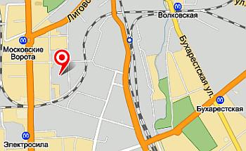 схема проезда для гидравлика от м.Московские ворота, м.Электросила, м.Волковская, м.Бухаресткая