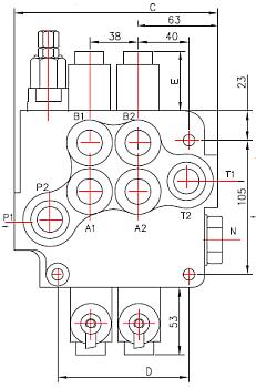 Badestnost, Z80, Z-80 A1, распределитель моноблочный, Р80, P120, P40, Z50, с электроуправлением, управление тросиком