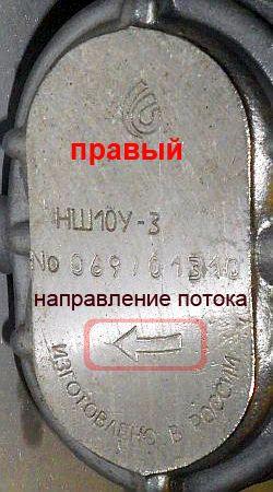 маркировка насоса НШ10У-3 правого вращения