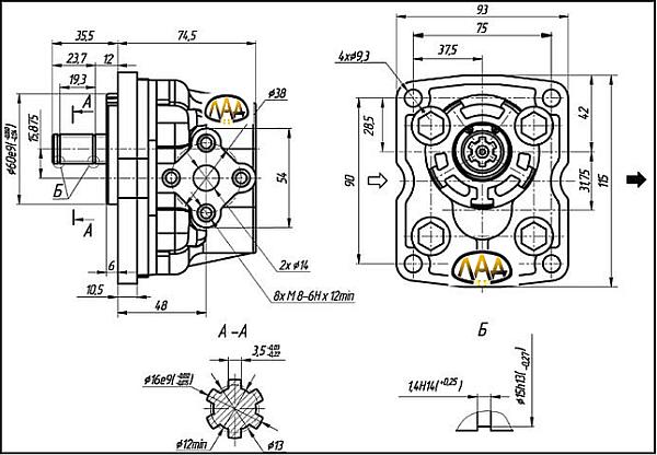 шестеренный насос НШ-10 исполнения характеристики и размеры